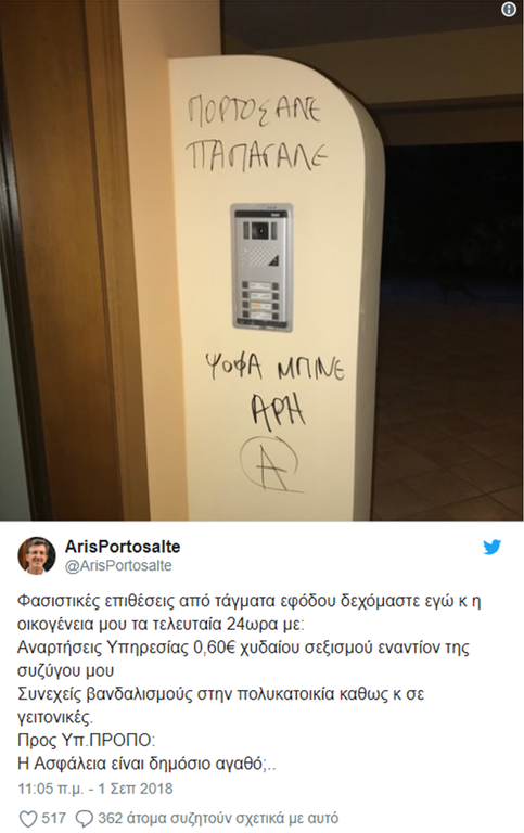 Επίθεση αγνώστων στο σπίτι του δημοσιογράφου του ΣΚΑΪ, Άρη Πορτοσάλτε