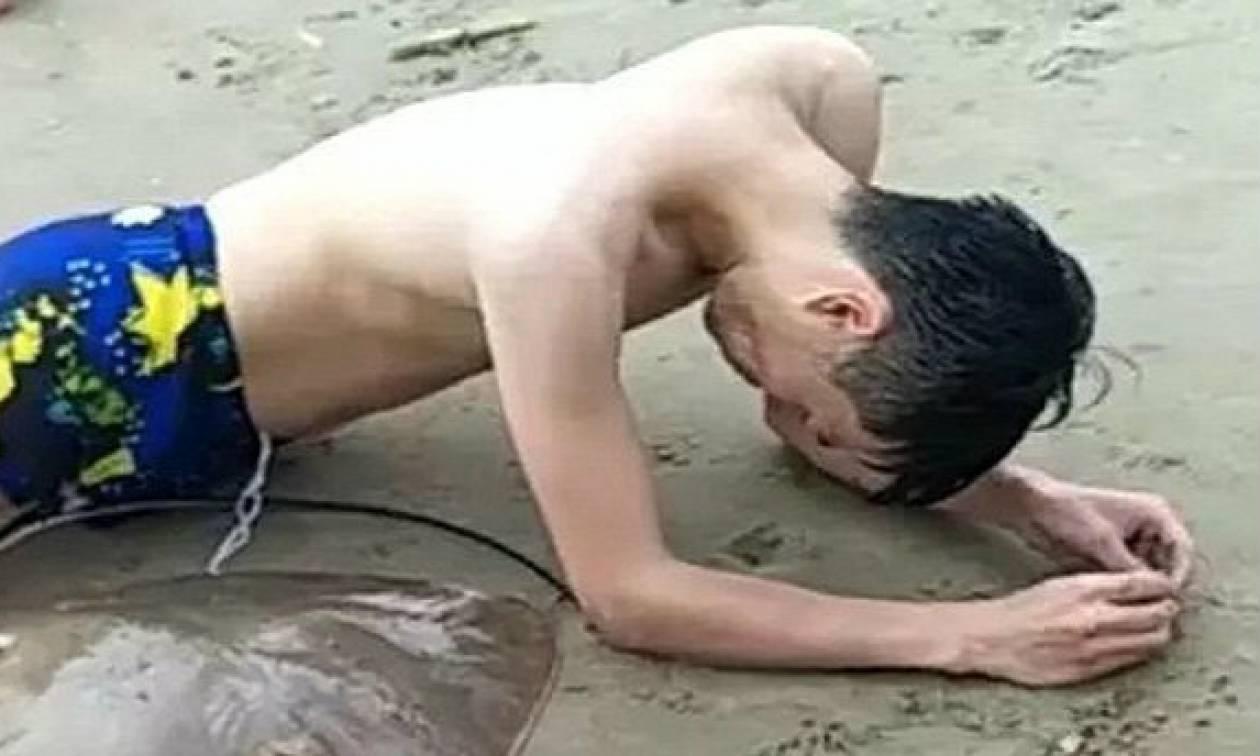 «Θυμωμένο» σαλάχι «άρπαξε» κολυμβητή από τα γεννητικά όργανα (pics)