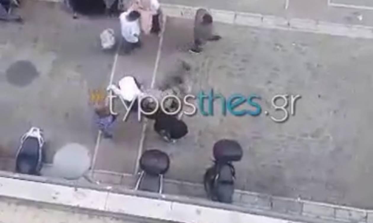 Άγριο ξύλο στο κέντρο της Θεσσαλονίκης (vid)