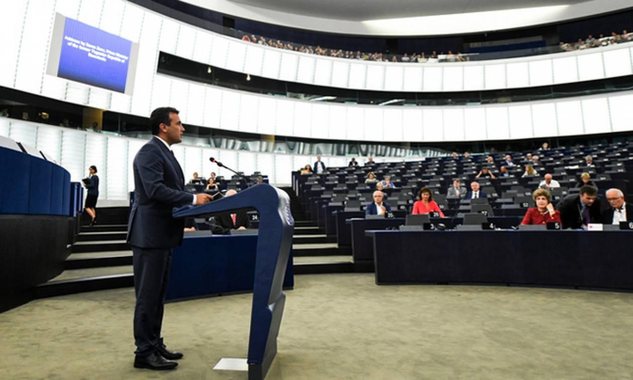 Ο Ζάεφ μίλησε… «μακεδονικά» στο Ευρωκοινοβούλιο και ευχαρίστησε τον Αλέξη Τσίπρα