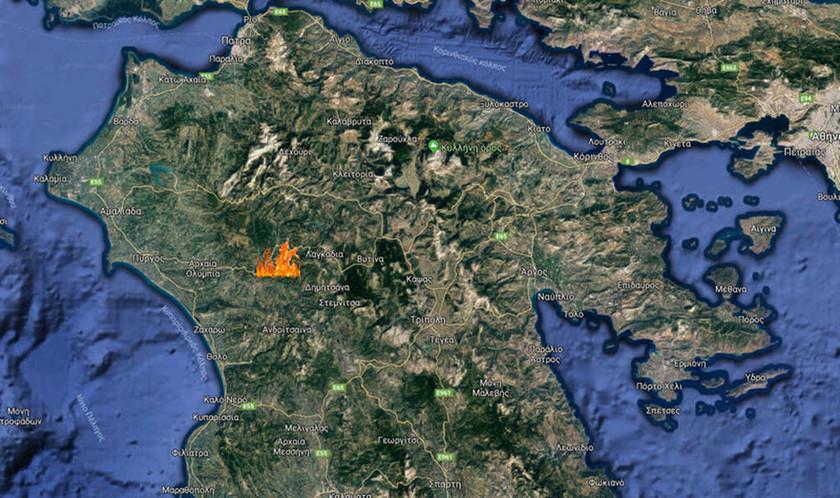 Φωτιά ΤΩΡΑ στα Λουτρά Αρκαδίας (χάρτης)