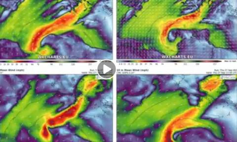 Καιρός: Αυτά είναι τα 4 σενάρια για την πορεία του Μεσογειακού Κυκλώνα πάνω απ' την Ελλάδα (video)