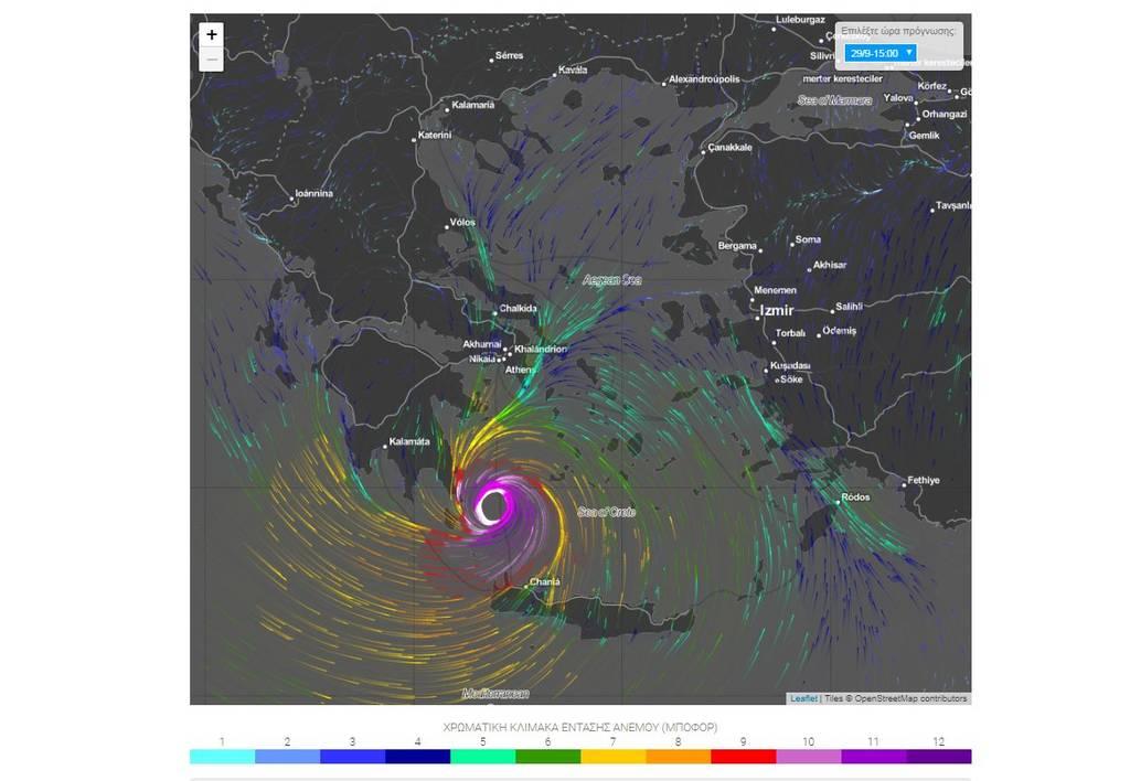 Καιρός: Δείτε σε φωτογραφίες την πορεία του Μεσογειακού κυκλώνα