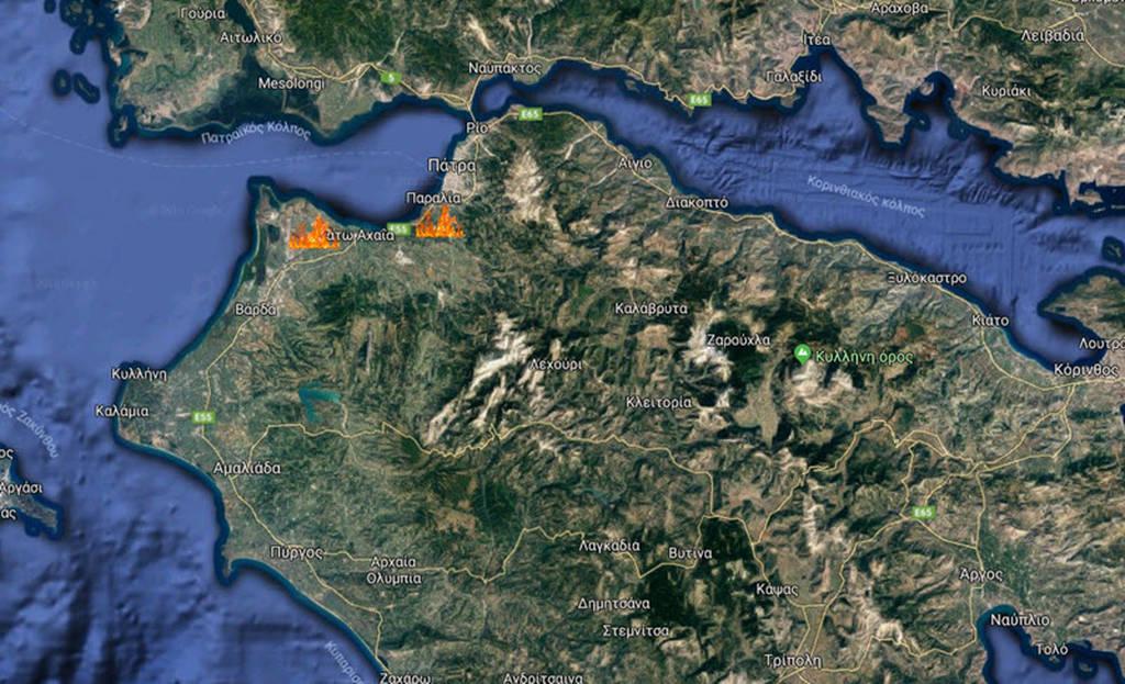 Φωτιά ΤΩΡΑ στην Αχαΐα: Σε εξέλιξη δύο πυρκαγιές σε Λιμνοχώρι και Καλλιθέα Πάτρας (χάρτης)