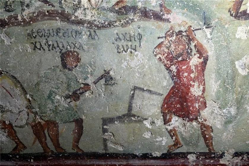Βρέθηκε αρχαίο «κόμικ» με... ελληνικά γράμματα σε τάφο του 1ου αιώνα μ.Χ. στην Ιορδανία! (vid)