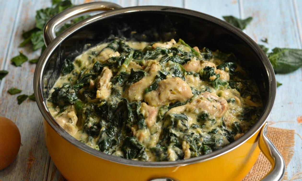 Συνταγή για κοτόπουλο φρικασέ με σπανάκι