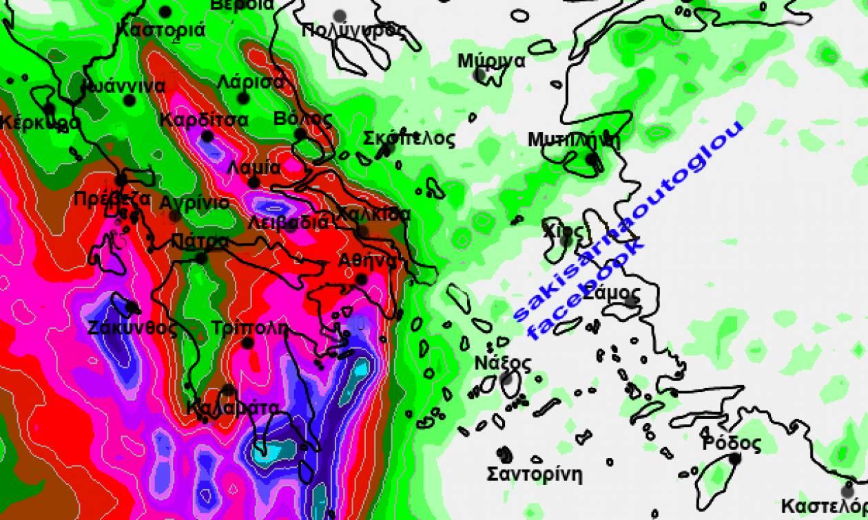 Καιρός: Εκτακτη προειδοποίηση από τον Σάκη Αρναούτογλου για ισχυρές βροχές την Τρίτη (χάρτης)