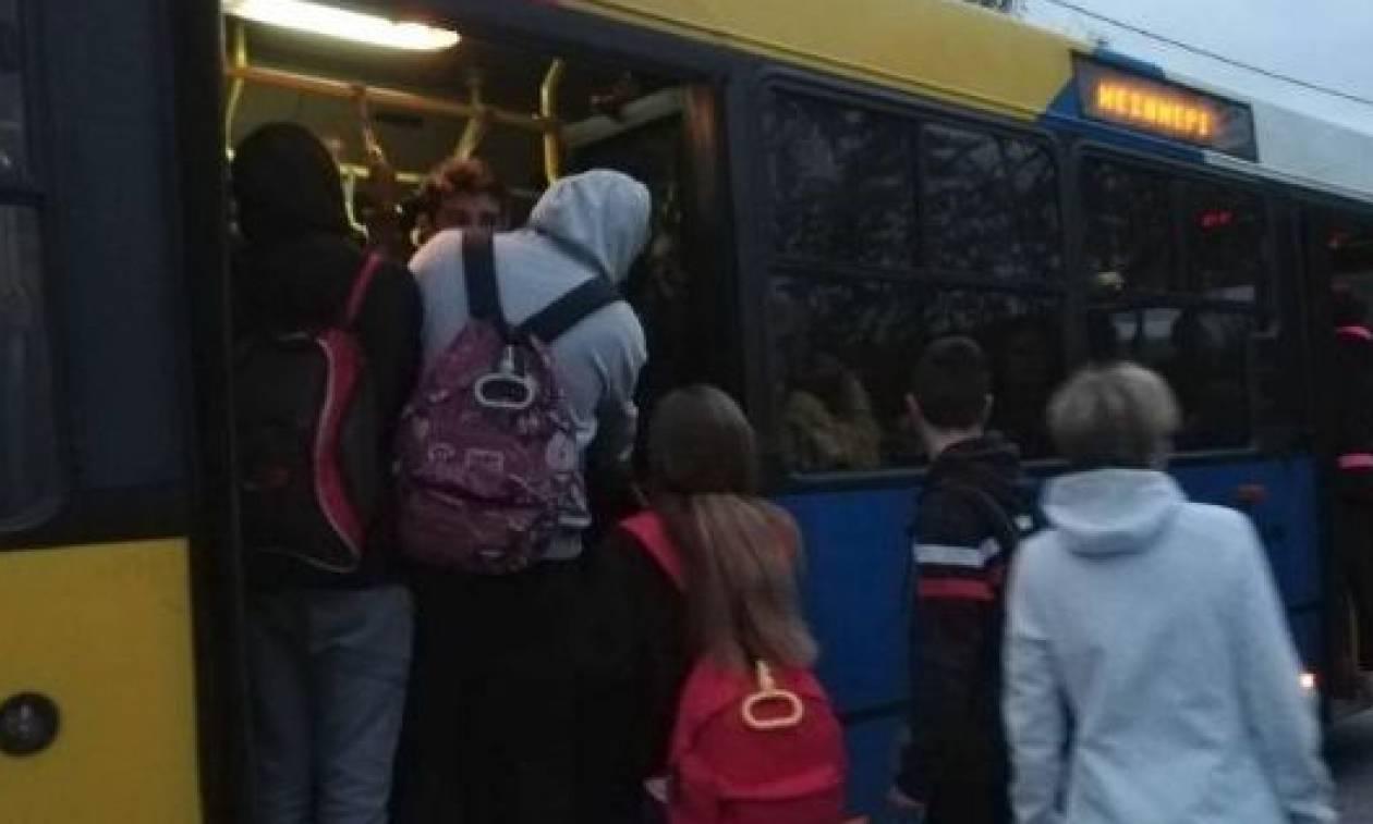 Τριτοκοσμικές εικόνες στη Θεσσαλονίκη: Το αδιαχώρητο με μαθητές σε λεωφορείο του ΟΑΣΘ (vid)