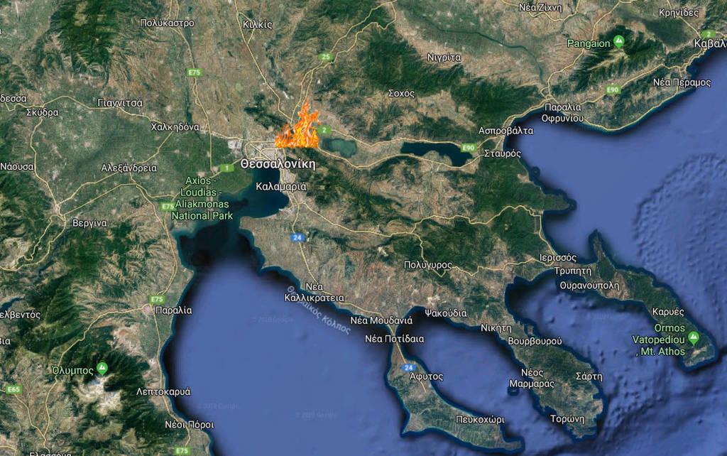 Φωτιά ΤΩΡΑ στο Φίλυρο Θεσσαλονίκης - Εκκενώθηκαν κατοικίες (χάρτης)