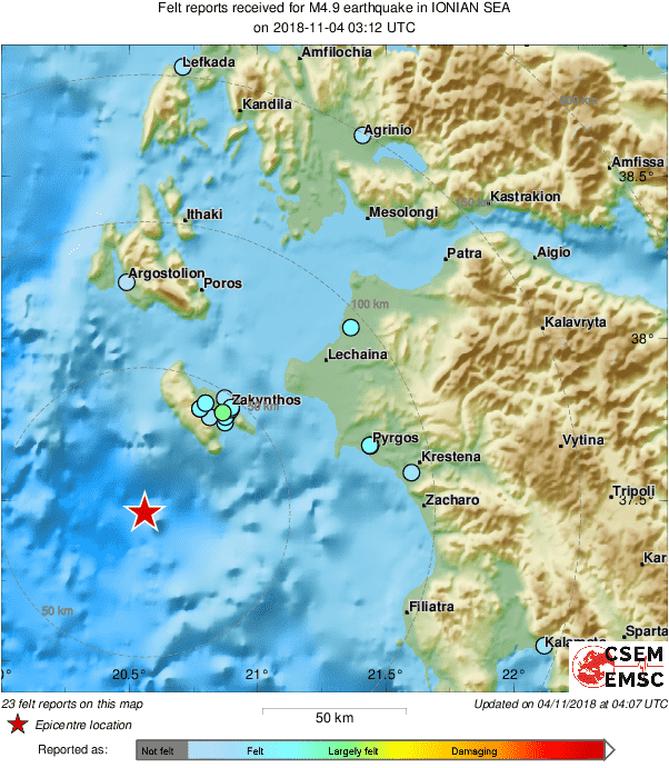 Σεισμός: Νέες σεισμικές δονήσεις κοντά στη Ζάκυνθο