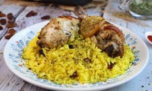 Η συνταγή της ημέρας: Κοτόπουλο λεμονάτο στο φούρνο με αρωματικό πιλάφι
