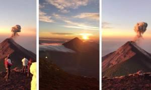 Εκαναν περίπατο στο βουνό, όταν απέναντί τους... έσκασε ηφαίστειο (video)