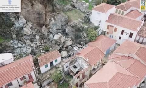 Εικόνες - σοκ στη Μυτιλήνη: Έτσι είναι το Πλωμάρι μετά τη μεγάλη κατολίσθηση (video)