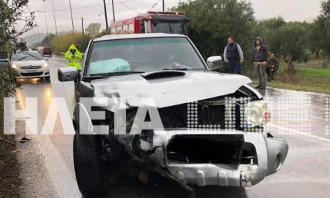 Ηλεία: Σοβαρό τροχαίο με δύο τραυματίες στην αερογέφυρα Στρεφίου