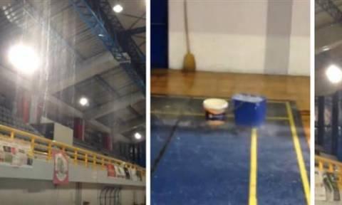 Κακοκαιρία: «Πλημμύρισε» και πάλι το κλειστό γυμναστήριο του Πύργου (vid)