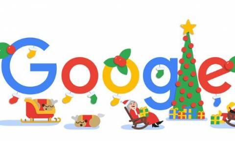 Καλά Χριστούγεννα! Ο ευχές της Google και το doodle για την ημέρα των Χριστουγέννων