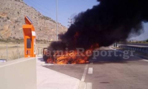Καρδίτσα: Αυτοκίνητο κάηκε εν κινήσει στην Εθνική Οδό - Άγιο είχαν ο οδηγός και ο γιος του (pic)