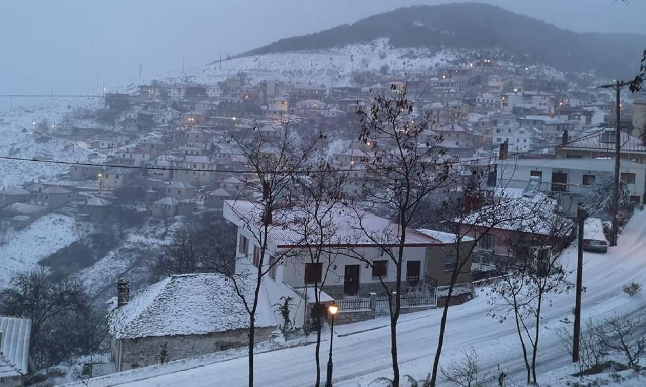 Καιρός: Πρωτοχρονιά με χιόνι σε Ελασσόνα, Φάρσαλα και Κίσσαβο (pics+vid)