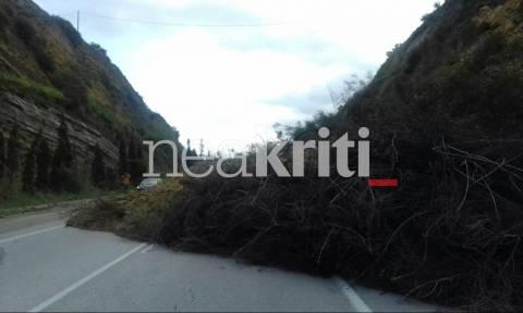 Καιρός - Εικόνες ΣΟΚ στην Κρήτη: Ολόκληρο τμήμα από βουνό έπεσε στην εθνική οδό! (pics)