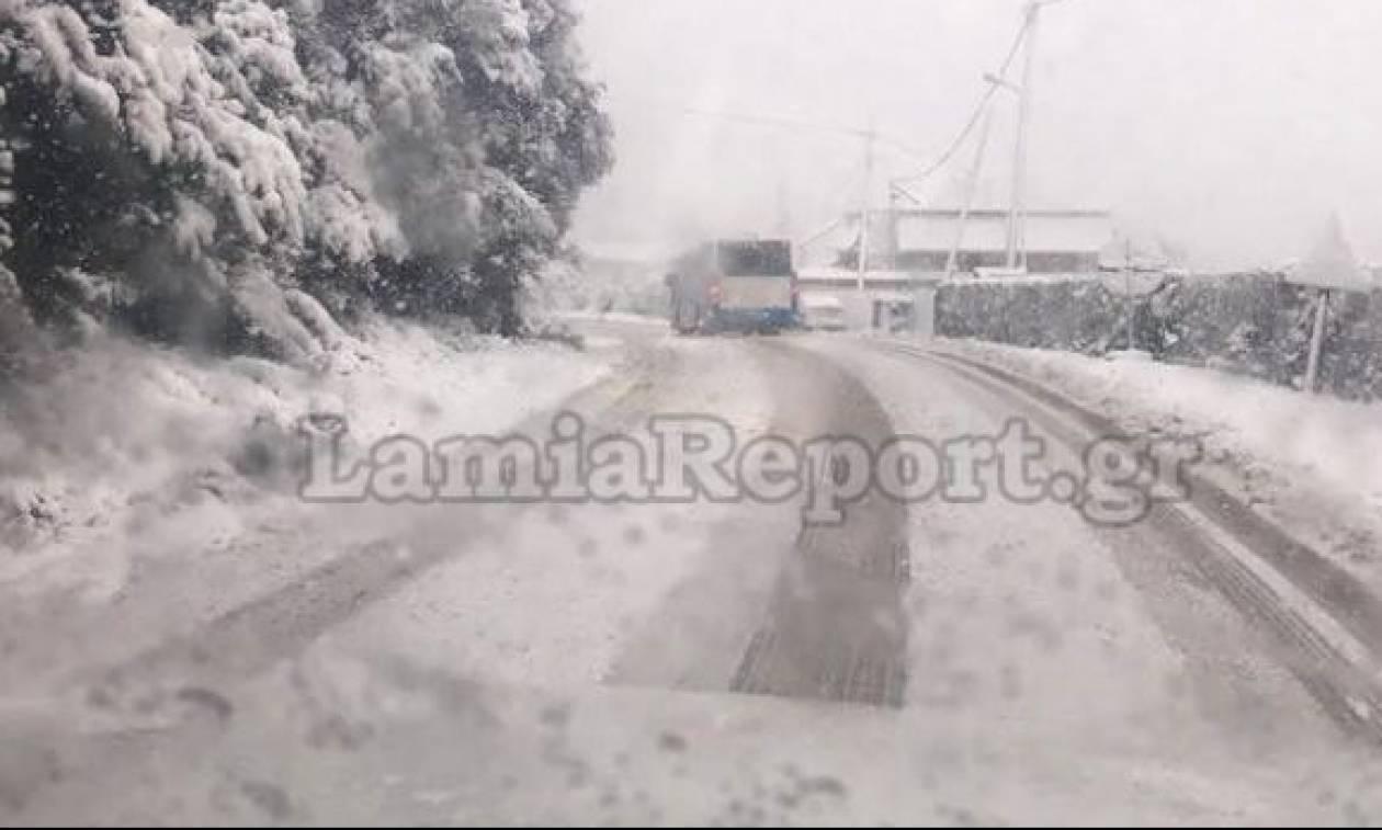 Καιρός: Διακόπηκαν τα δρομολόγια του ΚΤΕΛ Λαμίας
