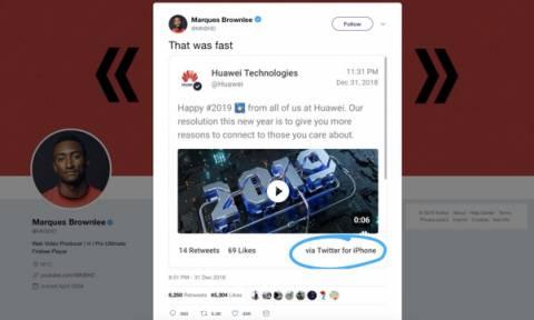 Νόμιζαν ότι τους κάνουν πλάκα! Η Huawei έστειλε τις ευχές της για το 2019 με... iPhone (Pic)