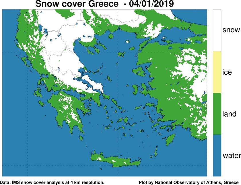 Καιρός: Περισσότερη από τη μισή Ελλάδα καλύφθηκε από χιόνι! Δείτε το χάρτη
