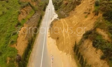 Καιρός: Κλειστός ο δρόμος στην Εθνική οδό Χανίων-Κισάμμου στο Σταλό (pic)