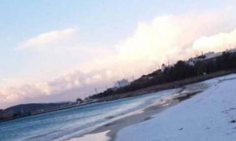 Απίστευτο: Το χιόνι «έθαψε» ακόμα και παραλία στα Κουφονήσια