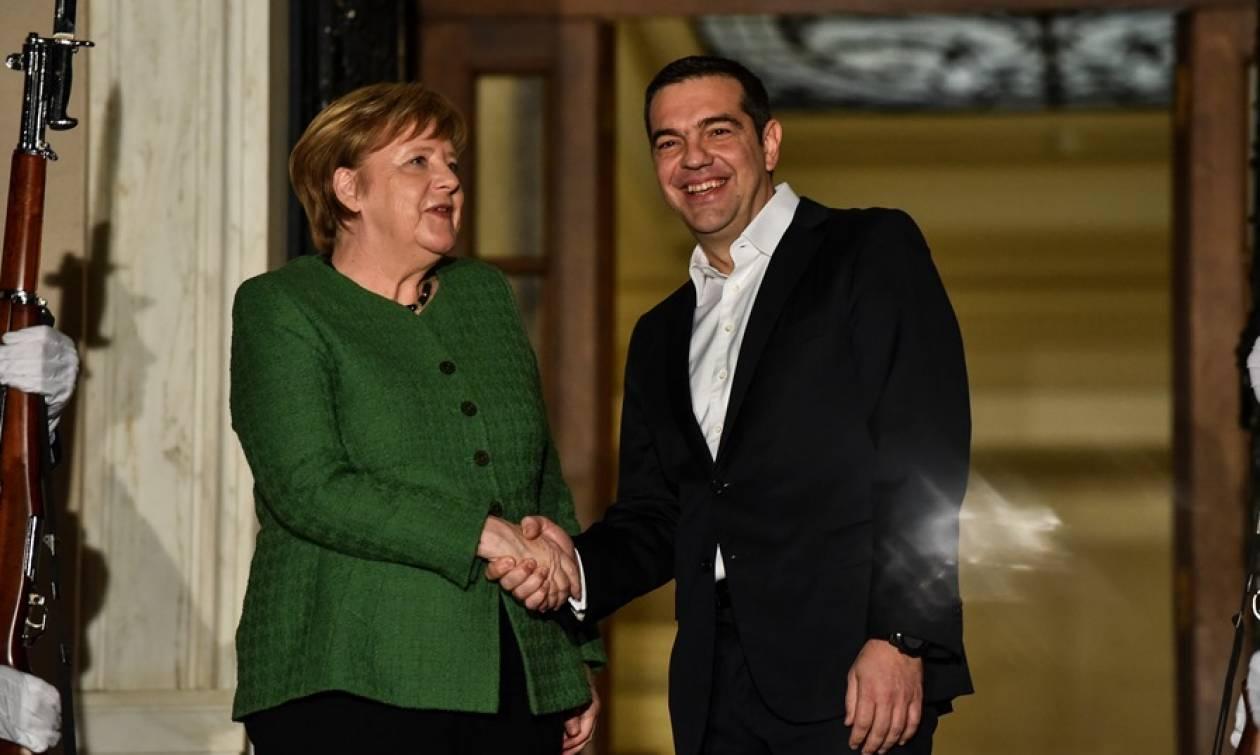 Angela Merkel arrives in Athens