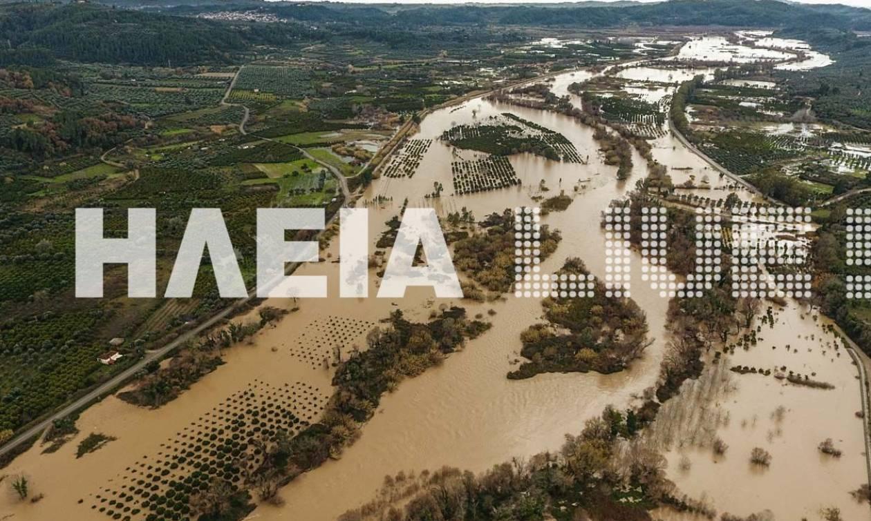 Καιρός: Ο πλημμυρισμένος Αλφειός από ψηλά (pics+vid)