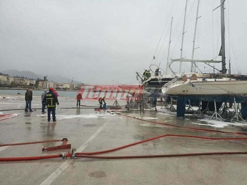 Πάτρα: Φωτιά ΤΩΡΑ στο παλιό λιμάνι - Καίγονται δύο ιστιοφόρα (pics&vid)