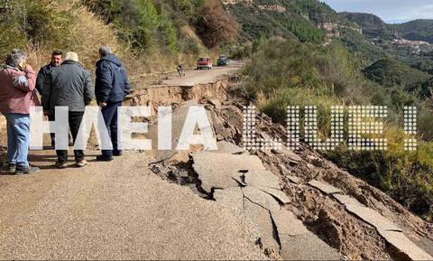 Κακοκαιρία: Μεγάλες καταστροφές στην Ηλεία - Κόπηκαν στα δύο δρόμοι (pics)