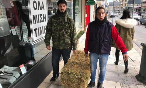 Μεσσηνία: Οι αγρότες πήγαν με σανό... στα γραφεία του ΣΥΡΙΖΑ (pics&vids)