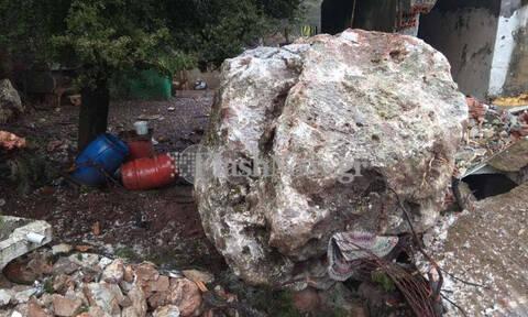 Κρήτη: Βράχος 25 τόνων έπεσε σε σπίτι - Η σύμπτωση που... έσωσε την ένοικο (pics)