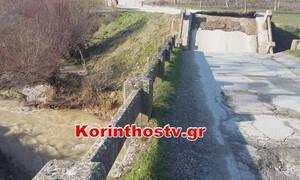 Κατέρρευσε γέφυρα στον Φενεό Κορινθίας - Κόπηκε στα δύο το χωριό (vid&pics)