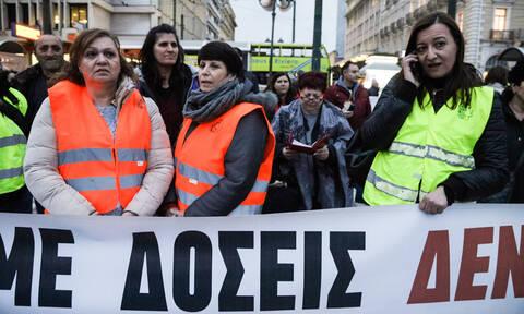 Συλλαλητήριο των δημοσίων υπαλλήλων – Κλειστή η Βασιλίσσης Σοφίας (pics)