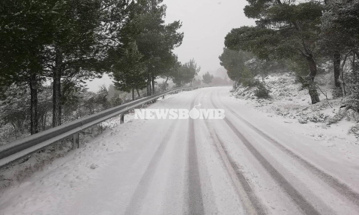 Κακοκαιρία «Χιόνη»: Χιονίζει στην Πάρνηθα - Έκλεισε ο δρόμος