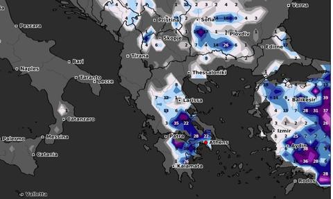 Καιρός: Καρέ - καρέ ο χάρτης χιονοκάλυψης της χώρας το Σαββατοκύριακο. Πολύ χιόνι και στην Αττική!