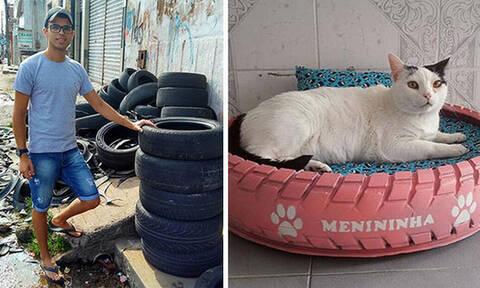 Πόσο φιλόζωος! Έφτιαξε κρεβάτια για αδέσποτες γάτες από λάστιχα αυτοκινήτων!