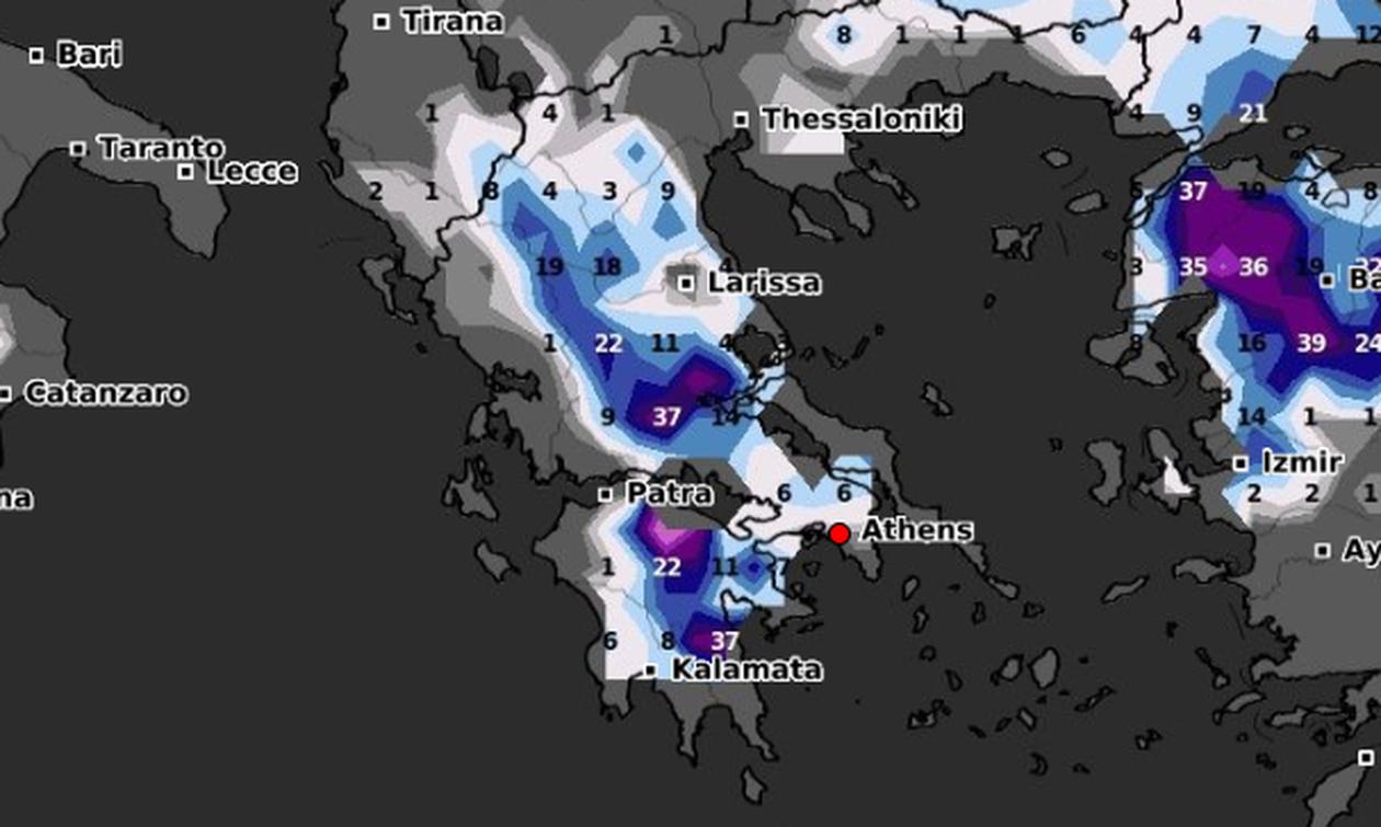 Καιρός: Καρέ - καρέ ο χάρτης χιονόστρωσης της Ελλάδας μέσα στο Σαββατοκύριακο (video)