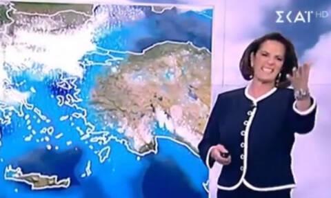 Καιρός: Η Χριστίνα Σούζη άρχισε να «σιχτιρίζει» ενώ ήταν στον αέρα (video)