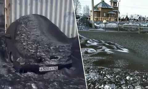 Εικόνες Αποκάλυψης: Έριξε μαύρο χιόνι και σκέπασε τα πάντα – Έντρομοι οι κάτοικοι