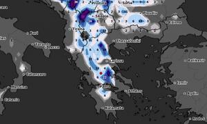 Καιρός: Καρέ - καρέ η εξέλιξη των χιονοπτώσεων το επόμενο 24ωρο (video)