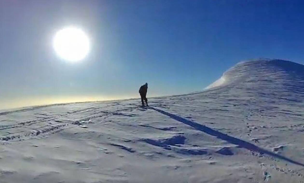 Πλάνα γεμάτα αδρεναλίνη από ανάβαση στην κορυφή του χιονισμένου Ψηλορείτη