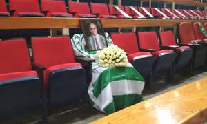 Με σημαία του Παναθηναϊκού η θέση του Θανάση Γιαννακόπουλου στο ΟΑΚΑ (photos+video)