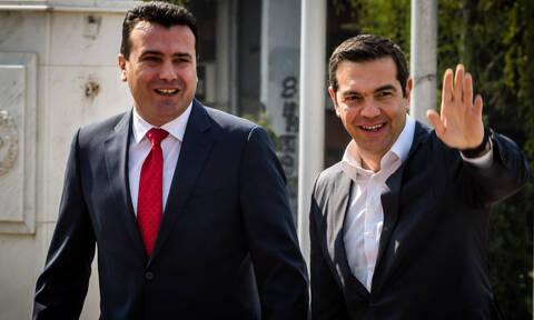 Tsipras warmly welcomed by Skopje's PM Zaev