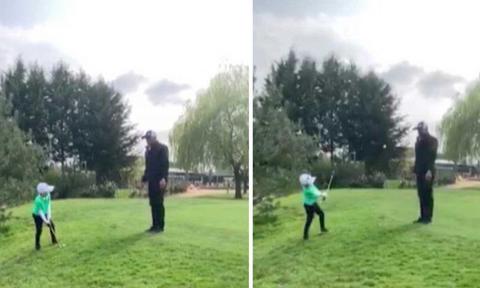 Πιτσιρικάς κάνει την τέλεια βολή στο γκολφ, πάνω απ' το κεφάλι του πατέρα του (Video)