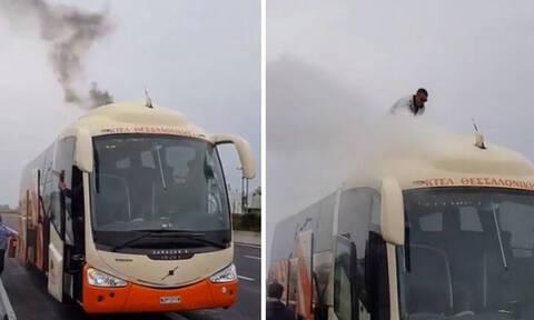 Κατερίνη: Λεωφορείο του ΚΤΕΛ Θεσσαλονίκης έπιασε φωτιά εν κινήσει (pics)