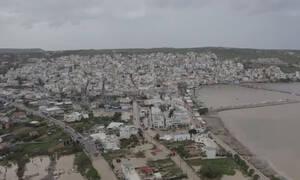 Καιρός: «Πνίγηκε» η Σητεία - Εικόνες καταστροφής από drone (vid)