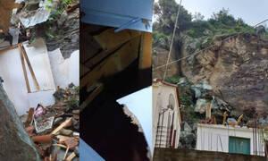 Νύχτα τρόμου στο Πλωμάρι: Κατολισθήσεις βράχων έβγαλαν τους κάτοικους στους δρόμους (pics)